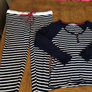 PJ Salvage Two Piece PJ Striped Set Sz L
